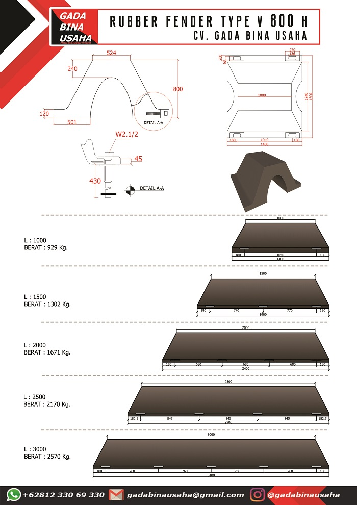 Spesifikasi Rubber Fender V 800